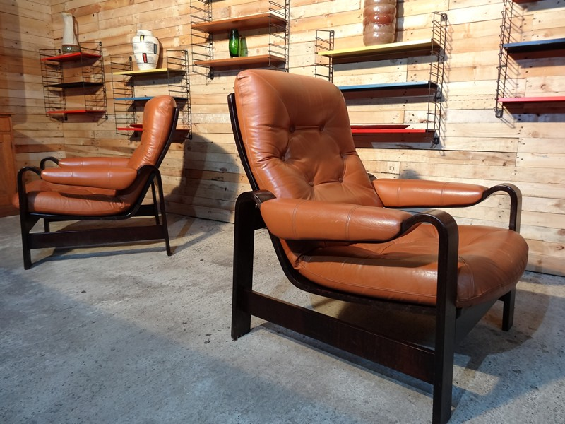 1970's Vintage Retro Danish Coja leather bentwood arm chairs