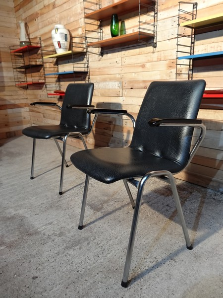 SOLD - 2X Chrome retro vinyl arm Chairs (price on request)