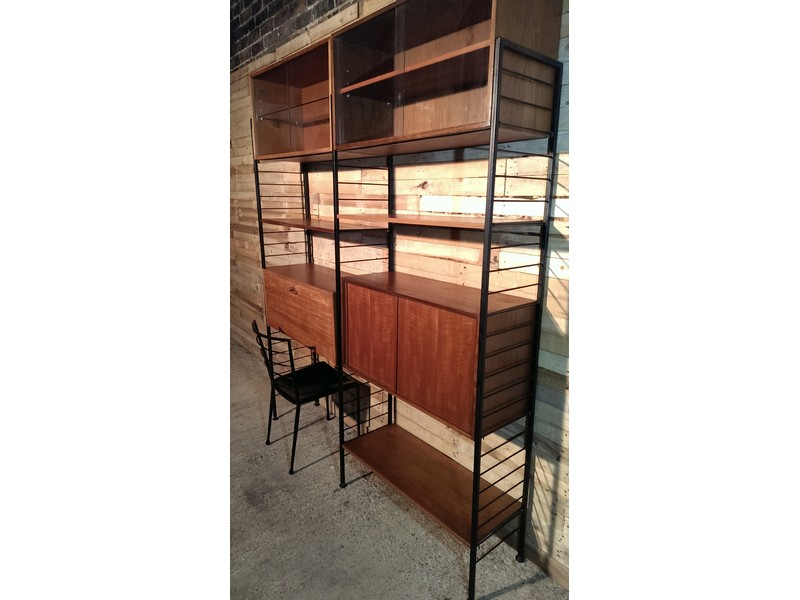 **SOLD**Freestanding metal framed teak wall System