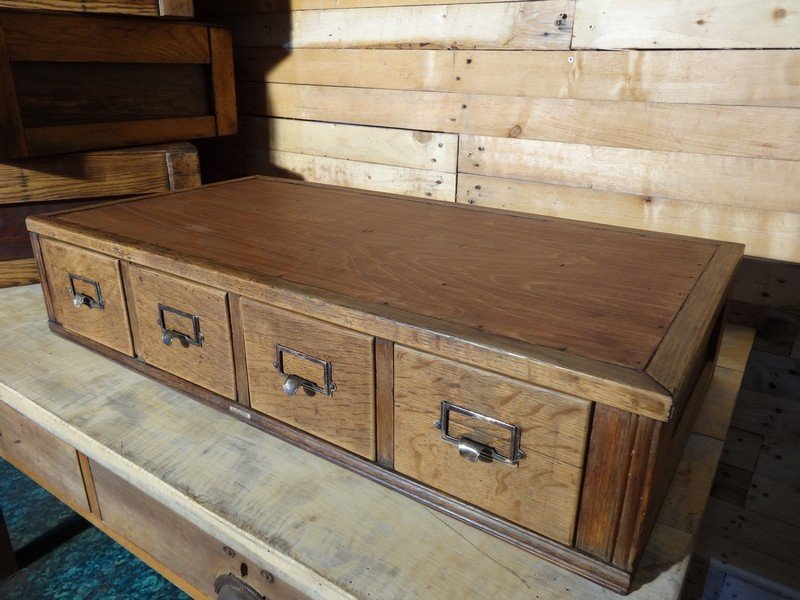 SOLD - English ca 1943 large set of Air Ministry vintage Oak drawer unit (price on request)