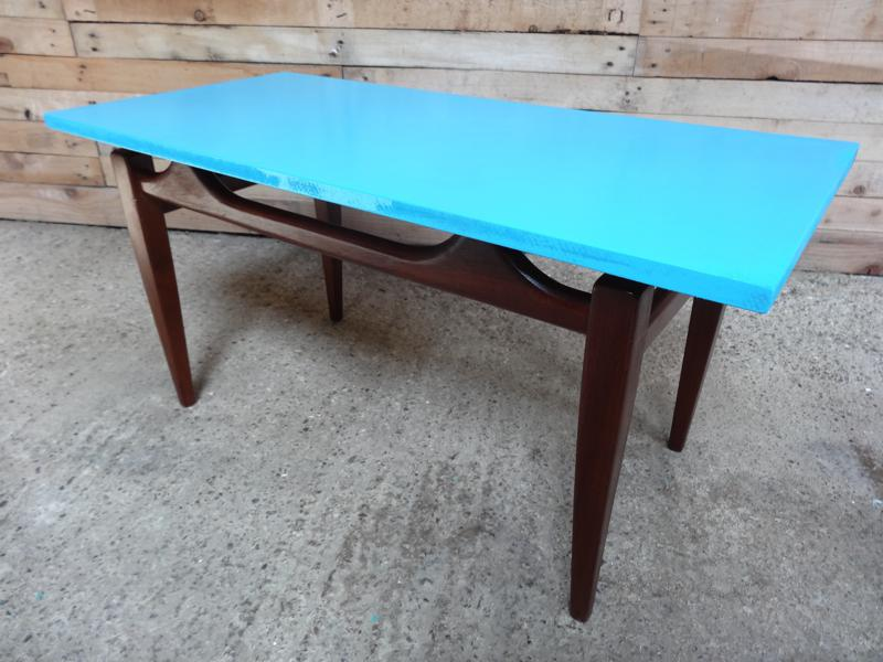 1960's blue painted teak table
