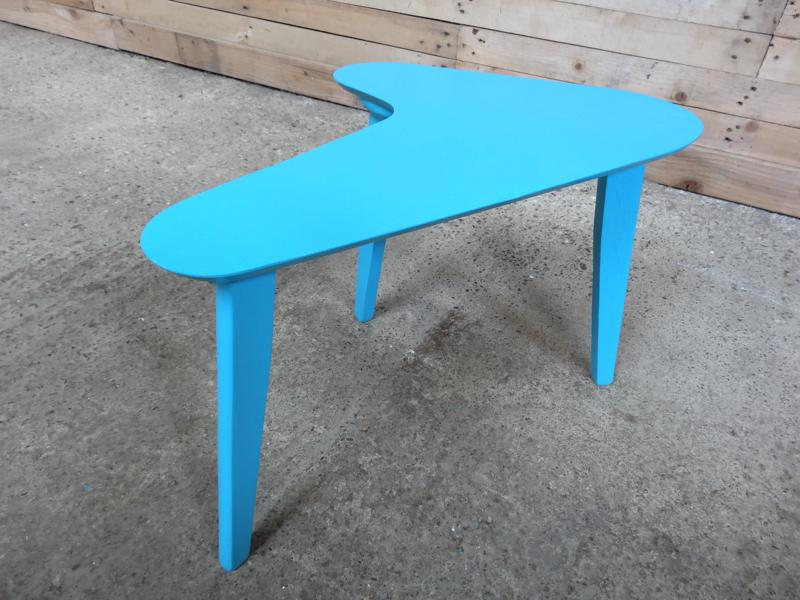 1960's blue painted Boomerang table