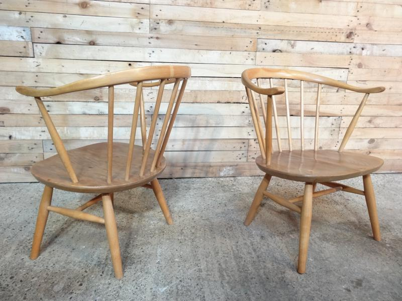 **SOLD**Ercol Cow Horn Chairs from the 1960s (2x)