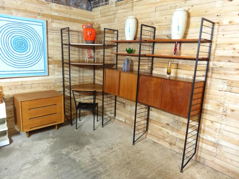 **SOLD**freestanding metal framed teak corner desk wall System