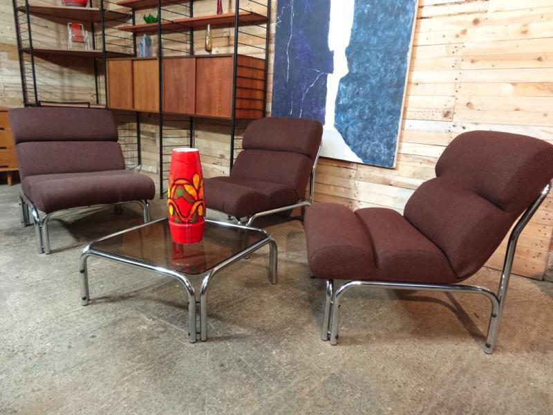 3 Vintage Retro 1970's Evertaut tube armchairs with a beautiful tube and glass matching coffee table