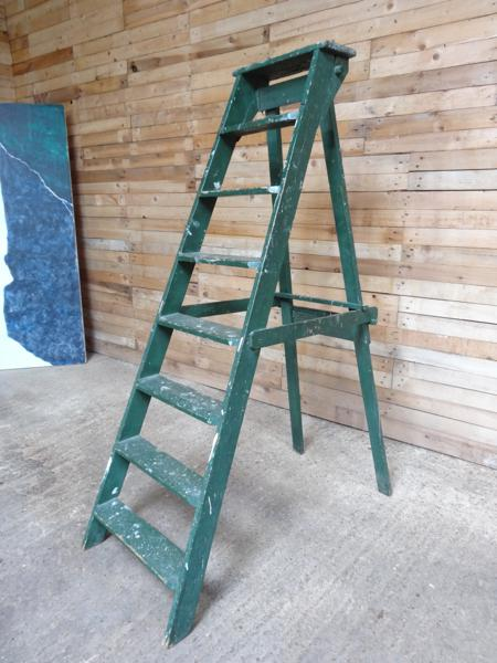 1900's French vintage  Green fruit picking / painting ladder (E) (Price on request)