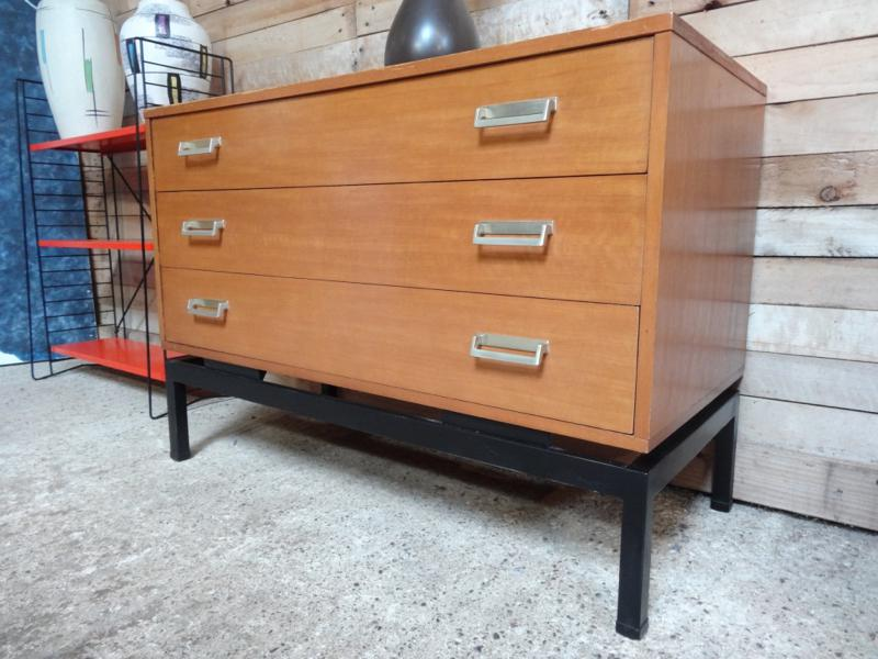 1960's teak chest of drawers with metal base in mint cond (B)