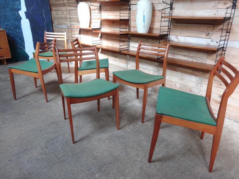 SOLD - 6  teak / green fabric Chairs