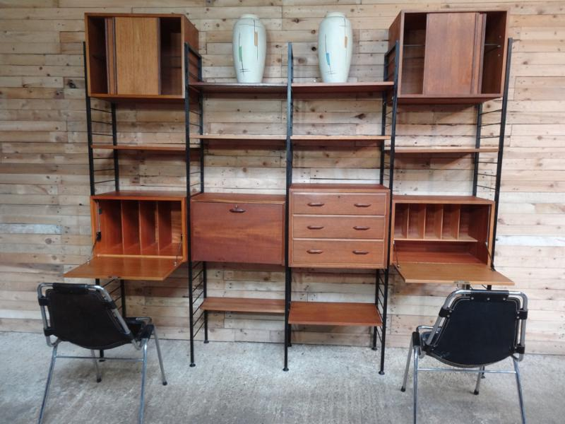 SOLD - XXL Room devider / Freestanding black metal framed teak book shelving / storage unit with his and her desk (price on request)