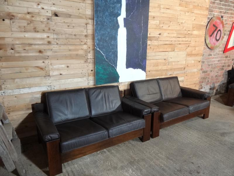 SOLD - 1970's Vintage Leolux black / dark brown leather two seater sofa (price on request)