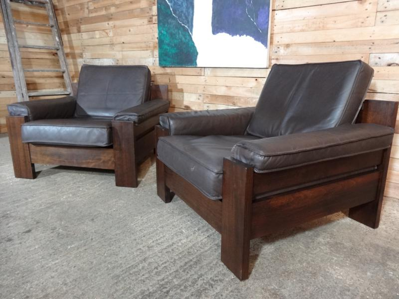 1970's Vintage Leolux black / dark brown leather arm chair