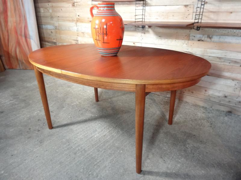 English Beithcraft extendable oval teak table