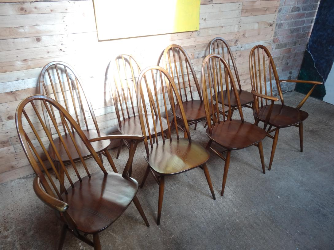 SOLD - Set of 8 Ercol dining chairs