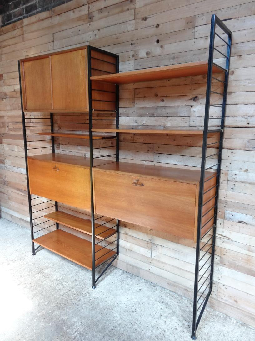 SOLD - Metal framed teak living room / Desk Wall System