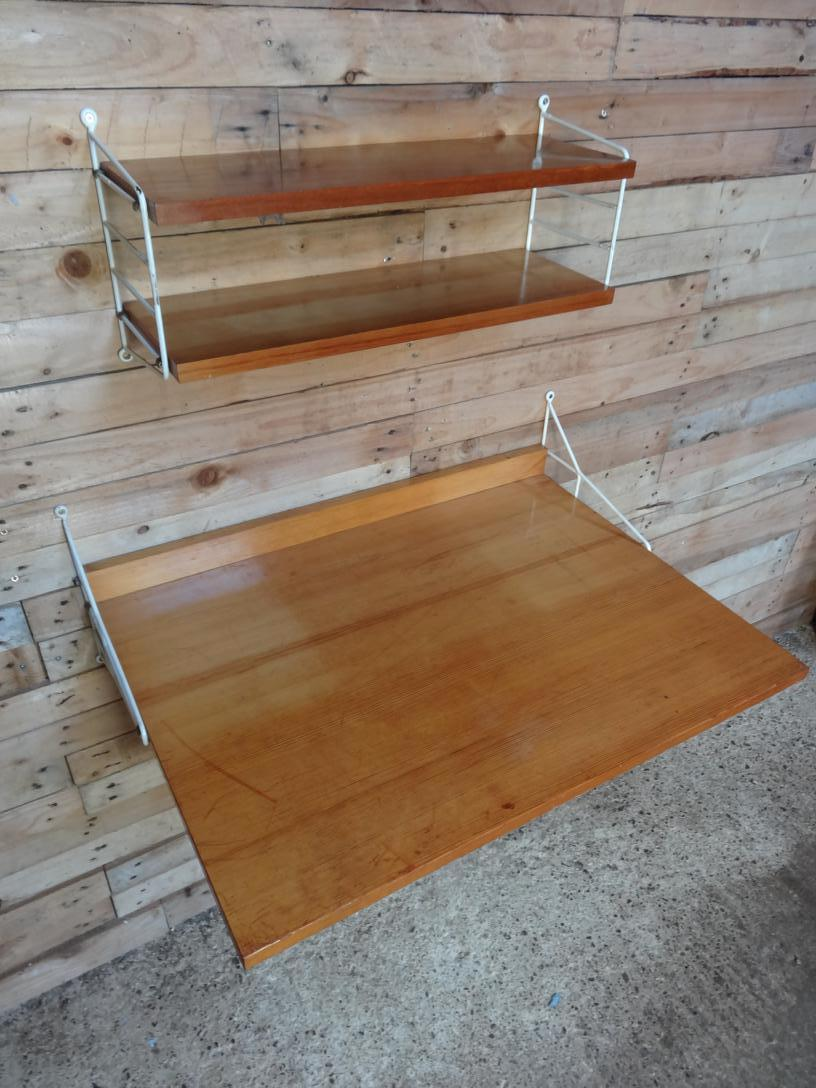 XX Large String metal framed desk with two shelves wall System (S9)
