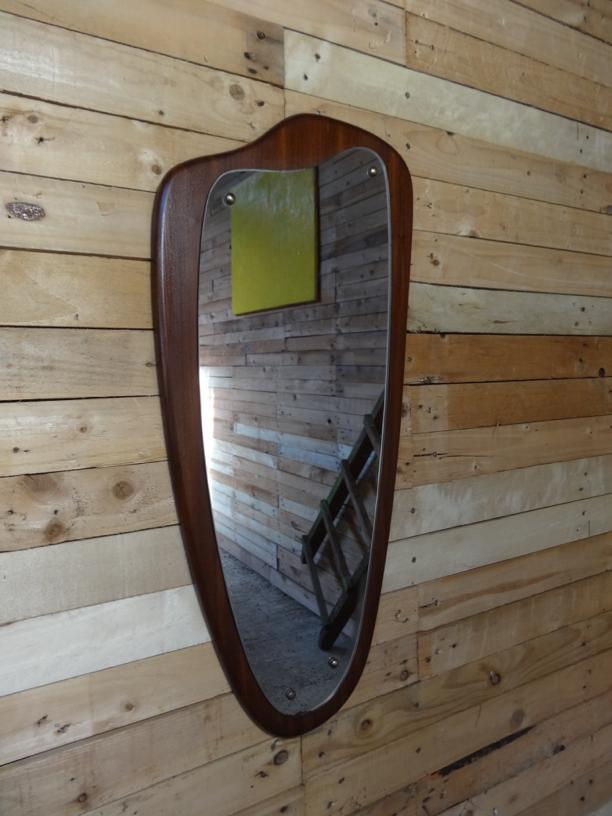SOLD - 1960 teak organice shaped mirror