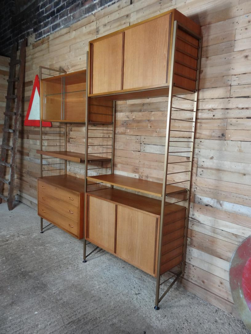 SOLD - Bronzed Metal framed teak living room /  Wall System