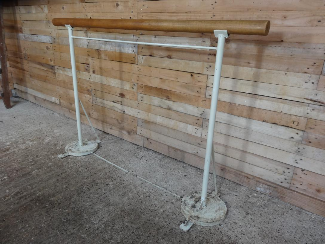 1930 wrough iron Vintage Ballet Barre with solid Oak bar