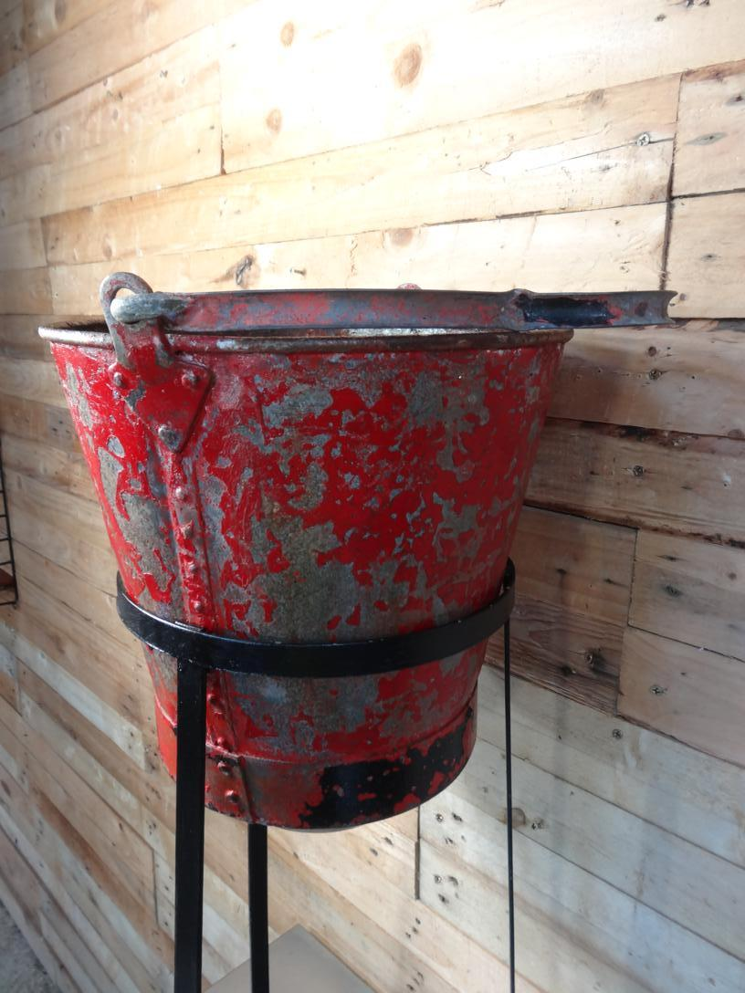 1950 vintage Fire bucket and stand