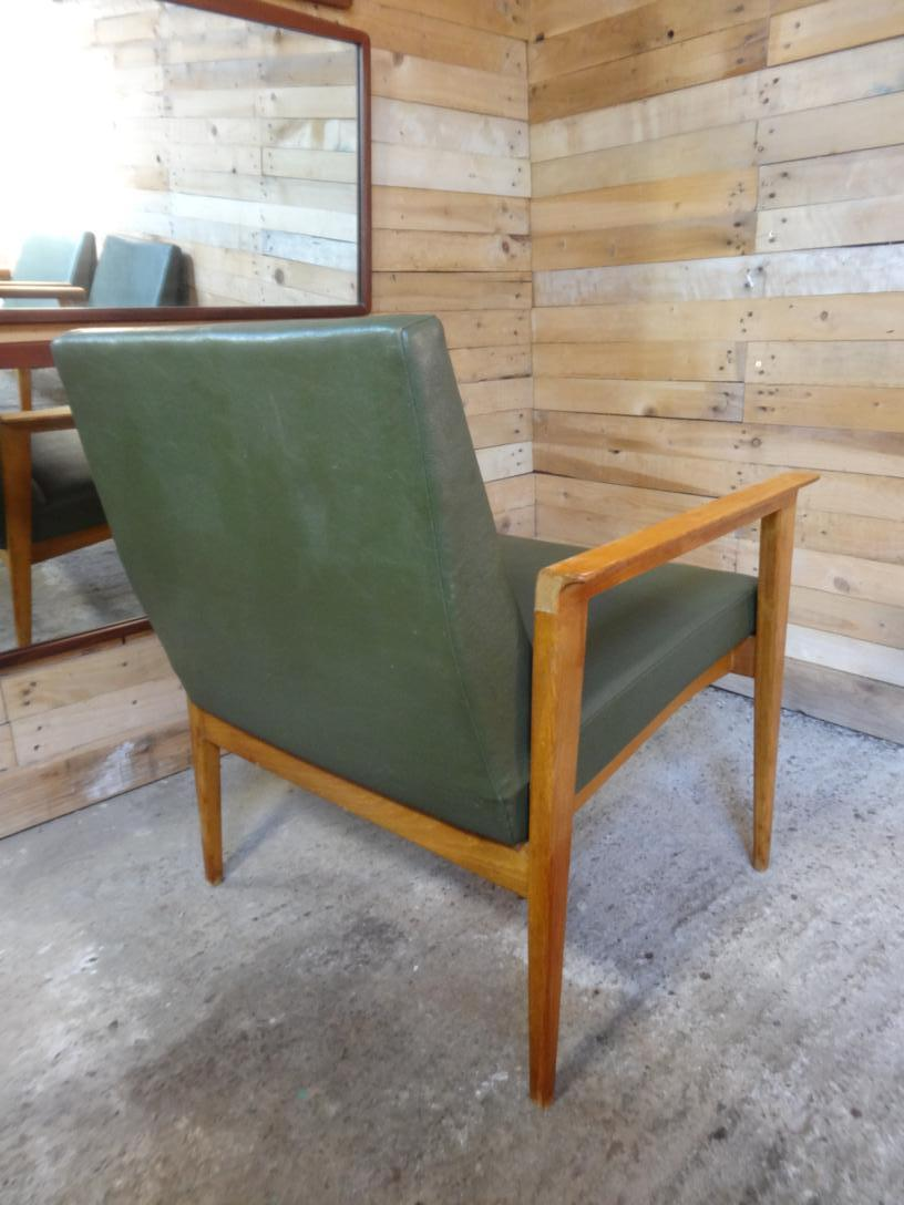 SOLD - Vintage 1950s Retro Sought after Thonet Armchair / Lounge Chair with green faux leather, Labled and branded