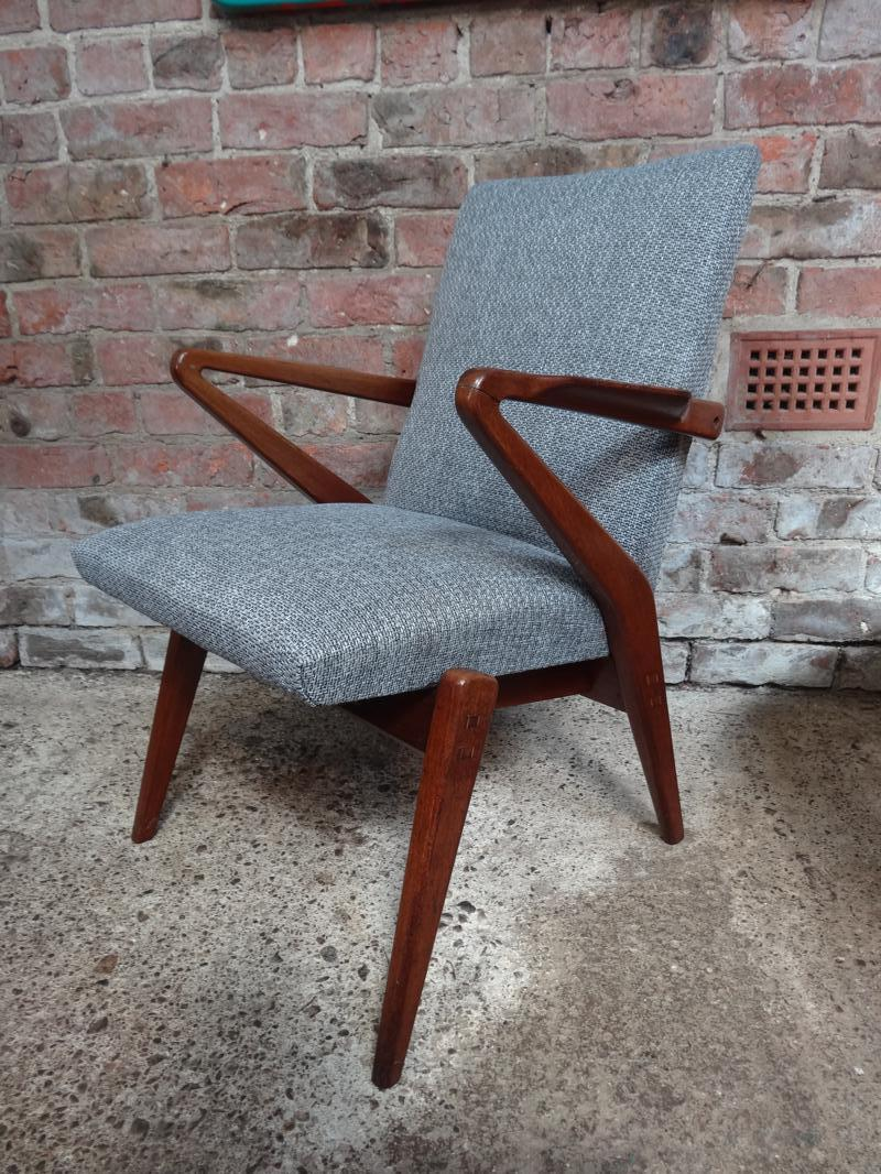 1950 Newly up-holstered fabric and teak armchair