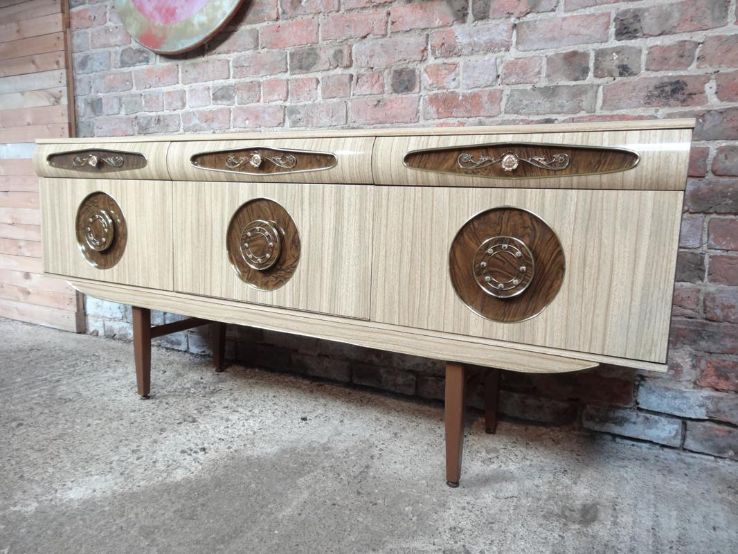 Sought after Vintage Retro Italian style Sideboard with Brass Handles from 1950s (103)