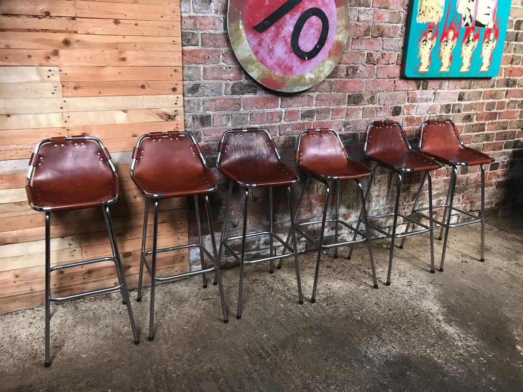 SOLD - 6x leather Charlotte Perriand Stools for Les Arcs 1960 (Price on request)