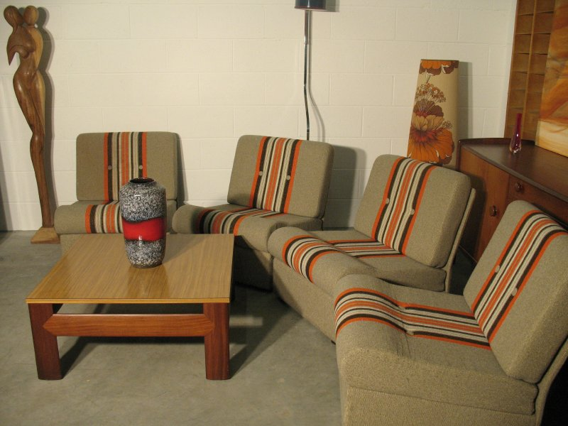 Vintage four seater module sofa