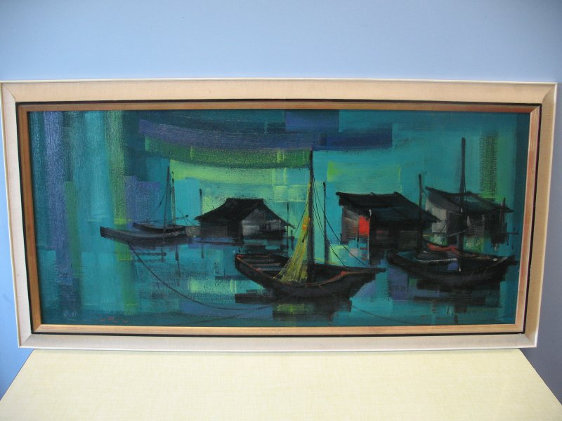 Original Japanese painting 'fishing village in blue'