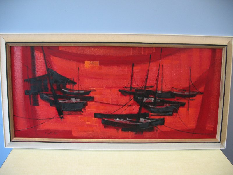Original Japanese painting 'fishing village in red'