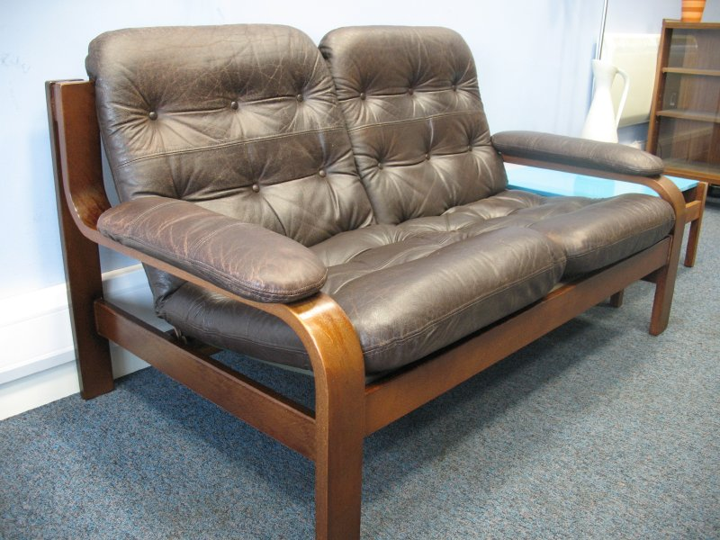 *sold*Vintage scandinavian Coja leather two seater sofa