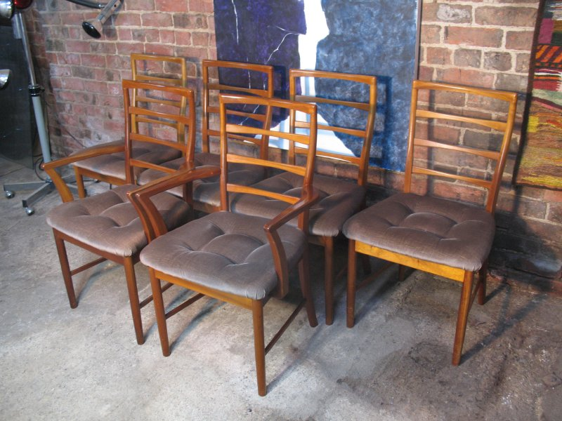 **SOLD**6 Koford Larsen teak / fabric Chairs