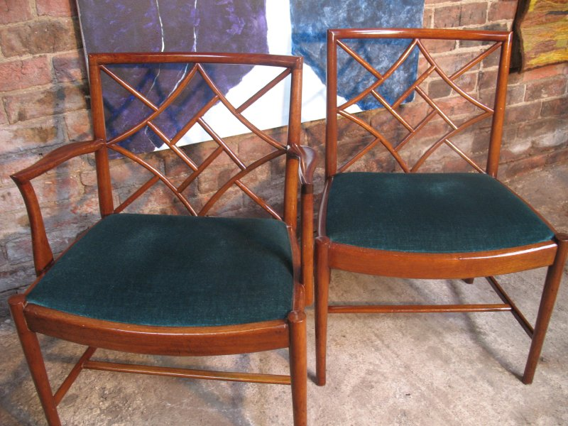 **sold**5 Beithcraft teak / fabric Chairs