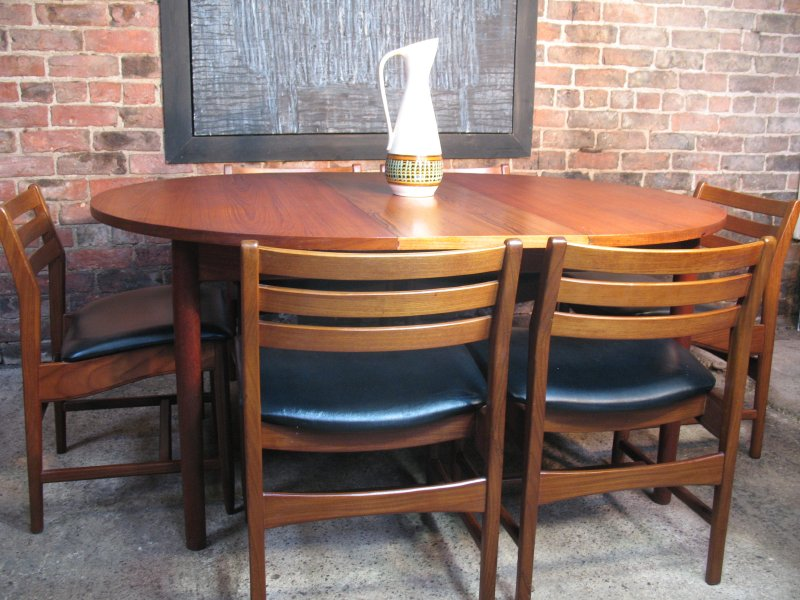 SOLD - 6 Danish teak / black vinyl Chairs