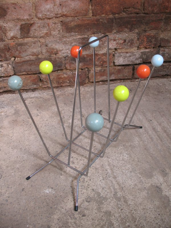 **SOLD**1960's Original Charles & Ray Eames Chrome atom sputnik metal magazine rack