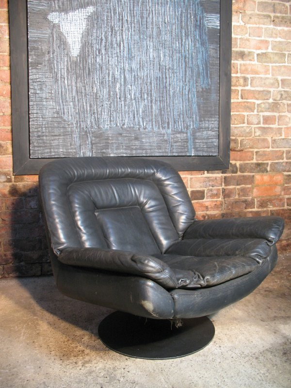 SOLD - Black Leather Egg Chair