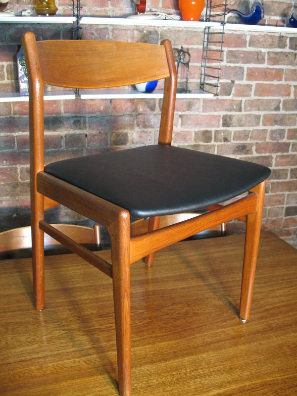 **SOLD**4 Danish teak / black vinyl Hansen Chairs