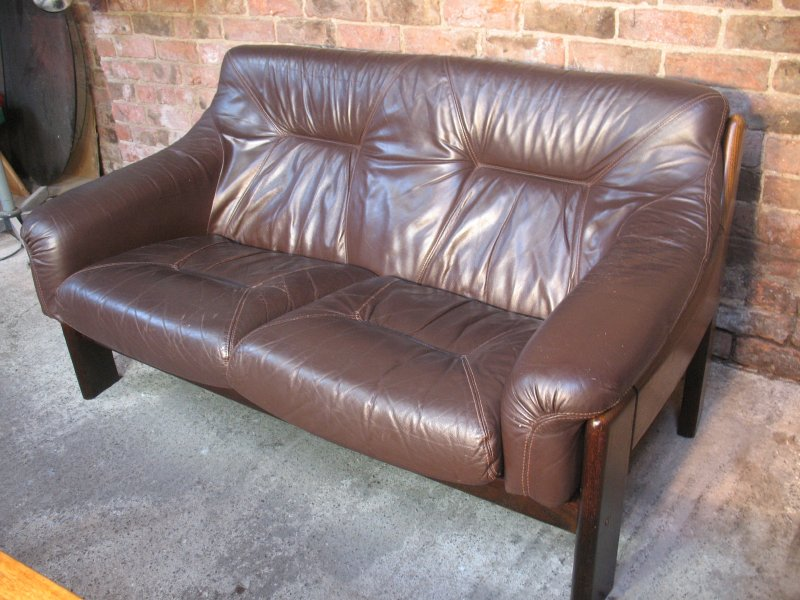 Vintage Brown leather two seater sofa