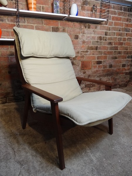 **SOLD**Dutch Robert Parry teak light fabric arm chair