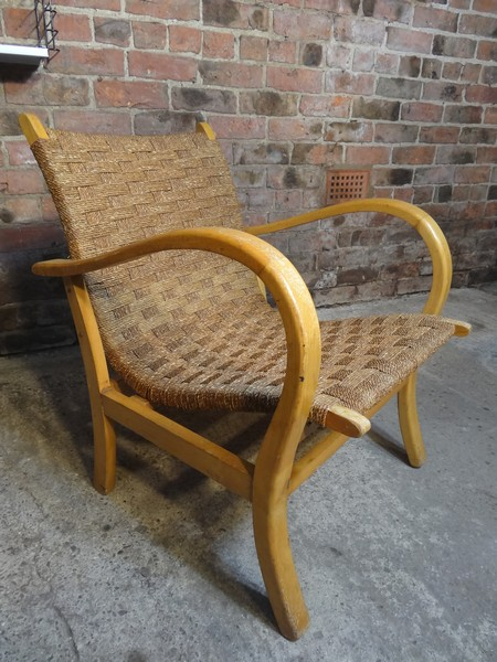 **SOLD**Danish minimalistic woven sea grass rope and beechwood arm chair