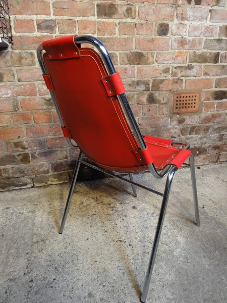 1 Red leather  Charlotte Perriand Chairs For Les Arcs 1960