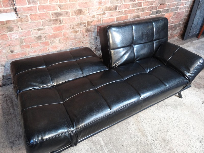 **SOLD**Black leather 3 seater fully ajustable daybed / sofa