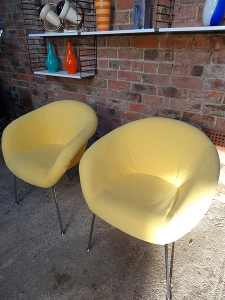 Herman Miller yellow fabric vintage chairs