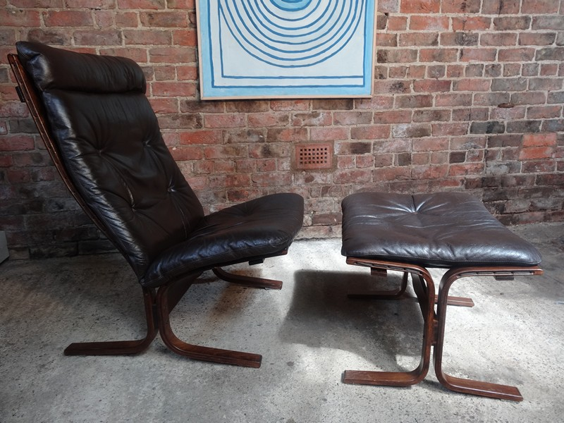 **sold**1970's Danish Ingmar Relling brown leather chair with foot stool (R5)