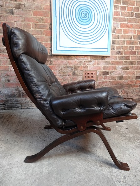 **SOLD**1970's Danish Ingmar Relling brown leather armchair (R7)