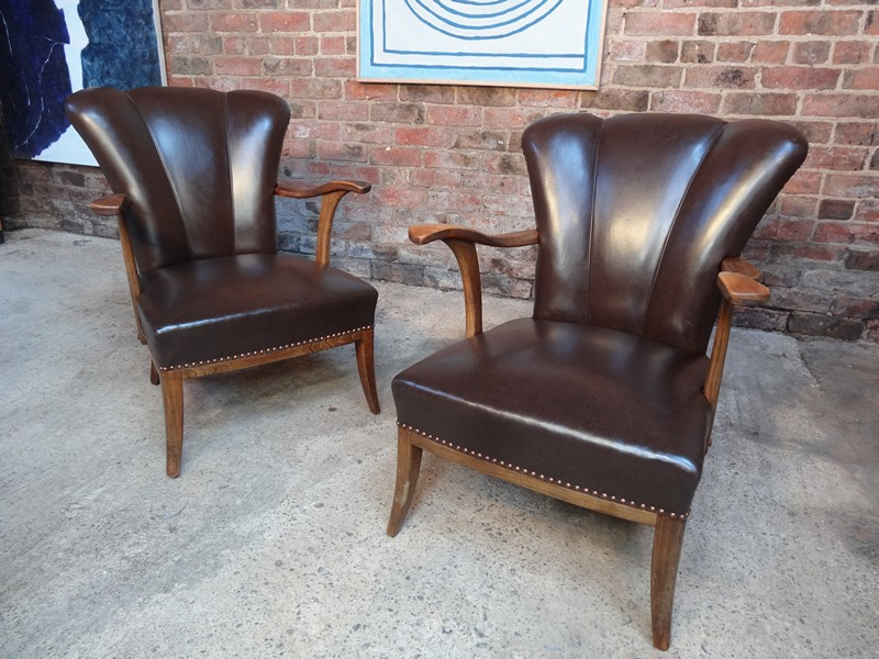 SOLD - 1950 two leather cocktail chairs