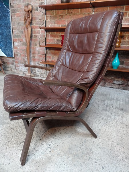 1970's Danish Ingmar Relling brown leather arm chair (R10)