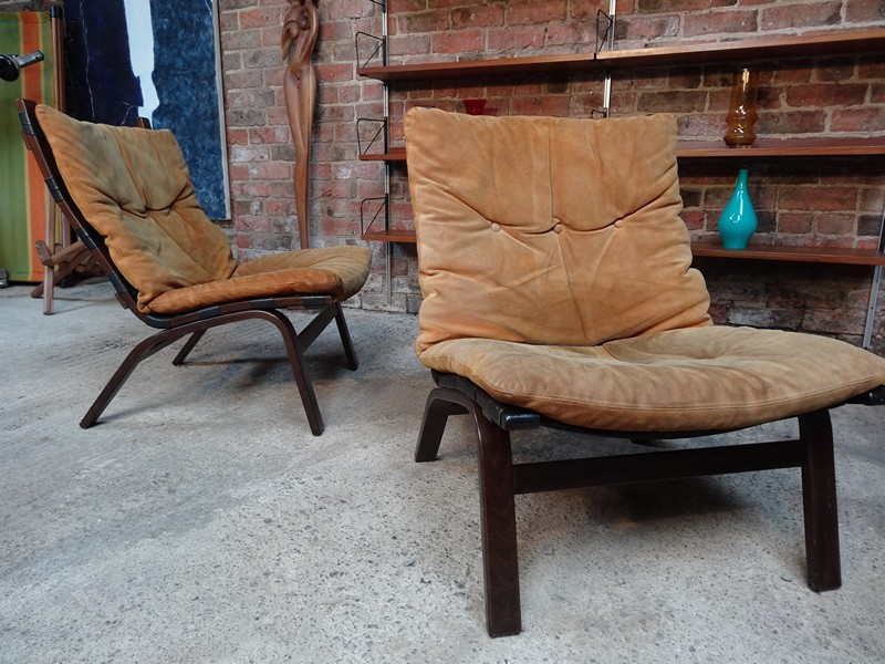 **SOLD**1970's Danish Ingmar Relling brown leather arm chairs (R11)