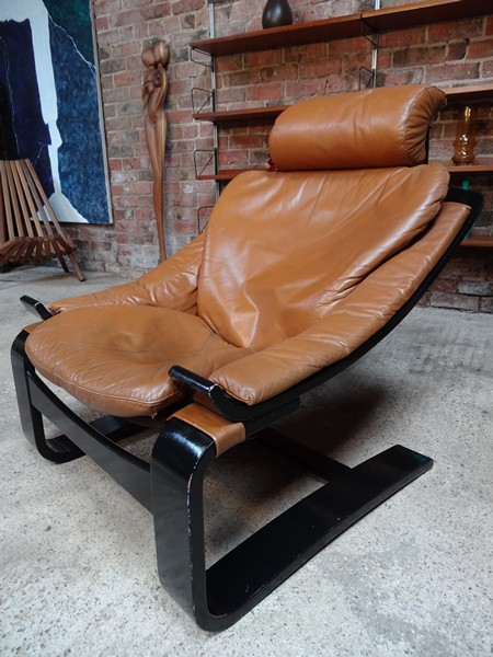 **Sold**1960's Brown Leather Nelo Mobel sling Armchair (dark frame)