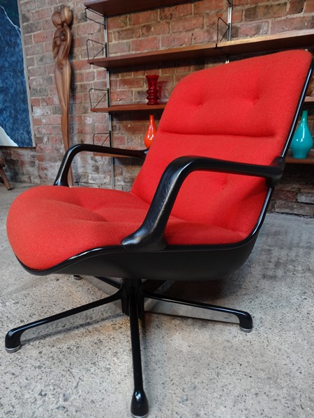 Italian Executive Arm chair by Charles Pollock for Comforto orange fabric swivel Desk chair